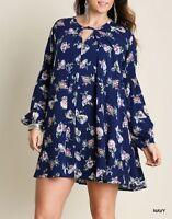 Umgee Plus Size (XL, 1XL, 2XL) Bohemian Floral Keyhole Long Sleeve Tunic Dress