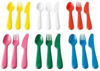 IKEA Kalas Cutlery Set Children Kids Cutlery Spoon Fork  Knife Plastic Set 18