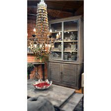 French Reclaimed  Rustic China Storage Cabinet Glass Door Shutter Design