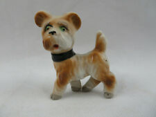 "Vintage Brown Cairn Terrier Dog Porcelain Figurine Hand Painted 2""1/2 long Japan"