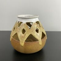Vintage Round Stoneware Pottery Candle Holder Vase Planter 3 Tone Cottagecore