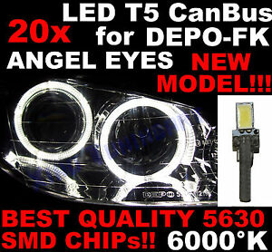 N° 20 LED T5 CAN-BUS white 6000K SMD 5630 for DEPO FK Angel Eyes Headlights 1D7