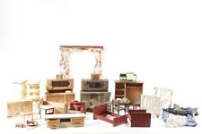 grand Ancienne collection Meubles de poupée Bett (Lit) Armoire Table Rideaux et