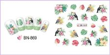 Nail Art Water Decals Transfers Stickers Summer Palm Trees Floral Birds BN869