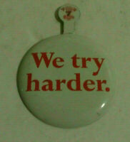 Avis we try hader complimentary vintage fold over pinback button vintage pin