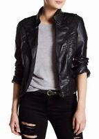 Jakett Vegan Josey Women's Faux Leather Crop Biker Moto Jacket in Black Size S