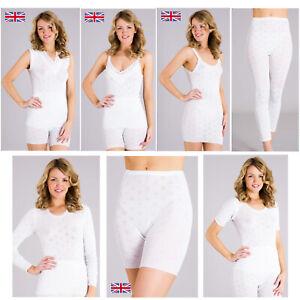 British Made Luxury Brushed Cotton Ladies Thermal Vest T shirt Womens Long John
