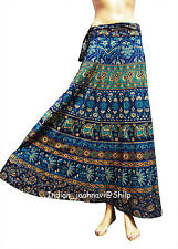 Long Skirt Wrap Around New Indian Women  Print Cotton Ethnic Blue Floral Rapron