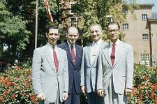 KODACHROME Red Border 35mm Slide Handsome Men Smiling Suit Ties Fashion 1950s!!!