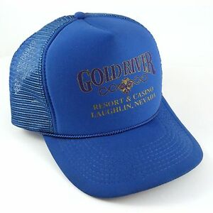 Vintage Men's Snap Cap Trucker Hat GOLD RIVER CASINO Blue Mesh Back One Size