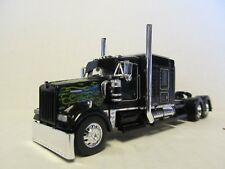 DCP 1/64 SCALE W-900 KENWORTH MID ROOF BLACK WITH GREEN FLAMES, DROP VISOR