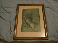 "Albrecht Durer, "" THE PRAYING HANDS "" Vintage Engraving by Art Lore Inc NY"