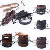 6pcs / set Mens Punk Leder Wrap Geflochtenes Armband Manschette Punk Armban C2P3