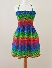 Rainbow Butterfly Mini Dress 8/10/12/14/16 Multiway Strappy Halterneck CrossOver