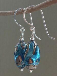 Art Deco Venetian Blue Lava FOIL Sterling Silver Earrings