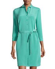 NWT Lafayette 148 New York Agner Enclave Cloth Shirt Dress 22W Aquarium $568