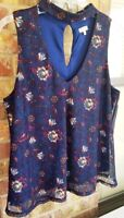 LILY WHITE Size XL Royal/Navy Blue Dressy Casual Top ~Very Nice!