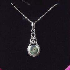 Natural Abalone /Paua Shell 925 Sterling Silver Celtic Knot Pendant & Chain