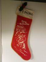Vintage Mid Century Felt Christmas Sant Stenciled Stocking 1950-60s MCM Graphics