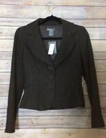 Ann Taylor Women's NEW Dark Brown Cotton Blend Snap Front Blazer, Size 0.
