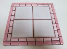 Vintage Handmade Mosaic Tile Pink Teapot Stand or Decorative Ornament - 1970s