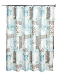 Welcome to the Shore Coastal Icons Shower Curtain with 12 Ring Holes