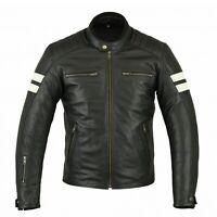 Retro Motorrad Lederjacke Vintage Motorradjacke Biker Chopper Gesteppt Jacke Neu