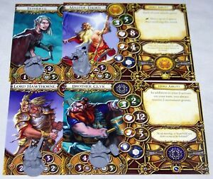 FFG Descent Miniatures - 4 WELL OF DARKNESS HEROES - Figures + 2nd ed. cards