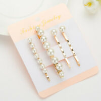 4Pcs pearl Hair Clips Set Elegant Bowknot Barrette Clamp Hairpin hair holder