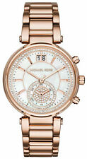 NEW Michael Kors MK6282 Sawyer Mother of Pearl Crystal Rose G Fashion Watch $325