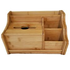New listing Wooden Desktop Organizer expanding slide out bookshelf blonde wood tissue holder