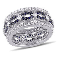 Amour Sterling silver Created White and Blue Sapphire Ring