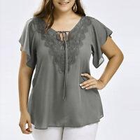Plus Size Womens Curve Appeal Lace T-Shirt Blouse Bat Short Sleeve Chiffon Tops