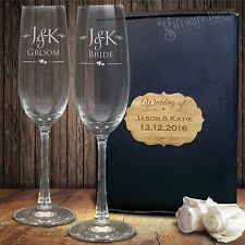 Engraved Champagne Glass Set Gift Boxed Bride & Groom Wedding Anniversary Flute