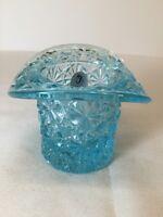 Fenton Art Glass Light Blue Daisy And Button Hat Sample