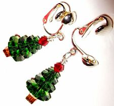 Green Artisan USA Silver Clip On Kirsten EARRINGS Christmas Tree Crystal Red USA
