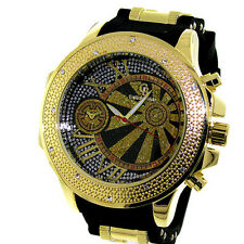 MENS ICED OUT HIP HOP GOLD/BLACK CAPTAIN BLING BULLET BAND WATCH *NEW*