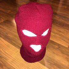NEW Vtg 70s 80s Burgundy SKI MASK Robber beanie Apres Gaper ACRYLIC Snow Hat NOS