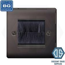 BG Nexus Black Nickel Single 1 Gang Brush Cable Entry Wall Face Plate NBNEMS2