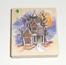 Halloween Haunted House Wood Mounted Rubber Stamp 3 1/2""