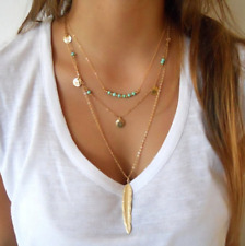 Exquisite Sequins Multilayer Boho Turquoise Beads Necklace Feather Pendent USA