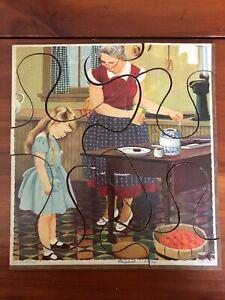 "Vintage Playskool Puzzle Masonite Board ""The New Dress"" 6 Pieces 8 x 9"" Beauty"