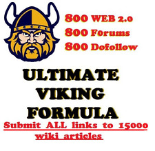 Viking SEO Links,800 Web,800 Forums,800 Dofollow. Submit ALL to 15k Wiki Article