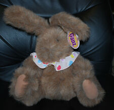 "GANZ 10"" Ruffles Brown Bunny Rabbit Vintage 1996 Easter Basket Gift Plush Toy"