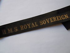 HMS ROYAL SOVEREIGN 1915/1944 Marine Ruban légendé bachi ORIGINAL cap tally GB