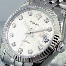 UNWORN ROLEX 178274 MID SIZE 31 mm STEEL DATEJUST SILVER JUBILEE DIAMOND DIAL