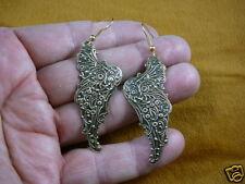 (EE770-5) Angel wings scrolled brass EARRINGS Guardian angels fallen wing dangle