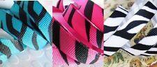 "25 yard Roll/Spool Grosgrain Ribbon 3/8"" Wild Animal Zebra Stripe/Pink/Blue R110"
