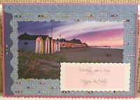 Luxury Handmade Personalised Large A4 BIRTHDAY CARD Beach Huts By The Sunset Sea
