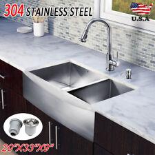 "20"" x 33"" x 9"" Dual Bowl Stainless Steel Apron Topmount Kitchen Sink Top Mount"